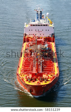 Tank ship seen from above