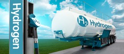 Tank trailer with hydrogen and H2 filling station on the background of a green field and blue sky. Renewable energy