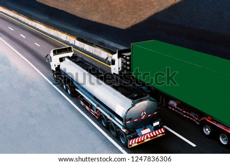 Tank Truck Gas or oil and Truck with green container on highway road, transportation concept.,import,export logistic industrial Transporting Land transport on the expressway #1247836306