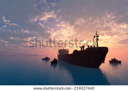 Tanker and tugs at sea.