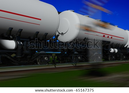 Tanker car on the railroad.
