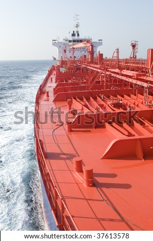 Tanker crude oil carrier ship designed for transporting crude oil with anchor
