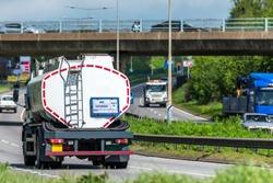 tanker lorry truck on uk motorway in fast motion