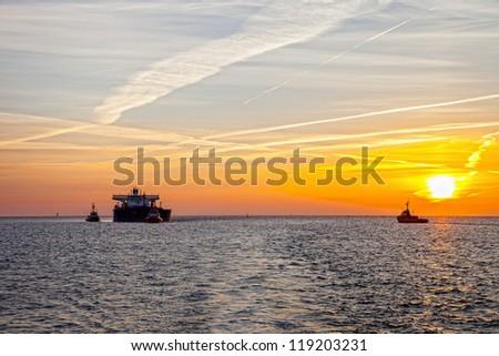Tanker ship at sunrise.