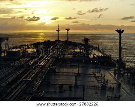 tanker ship on sunset