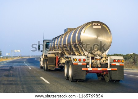 Tanker truck driving on the freeway