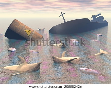 Tanker wreck, toxic barrel, many fishes and dolphins dead in the ocean stock photo