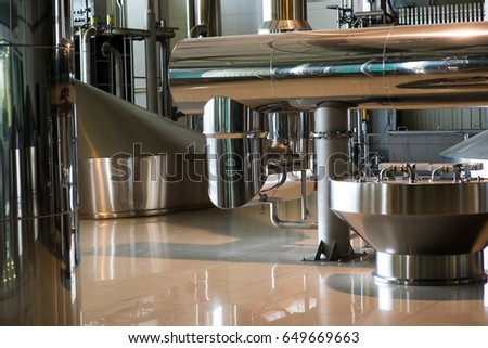 Tanks For Beer Storage. Modern Brewing Production.