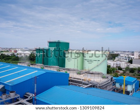 Tanks of water in Combined-Cycle Co-Generation Power Plant. #1309109824