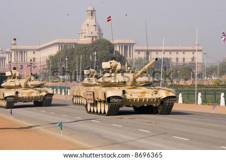 Tanks parading down the Raj Path in preparation for the Republic Day Parade, New Delhi, India