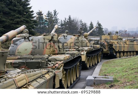 tanks standing in a row