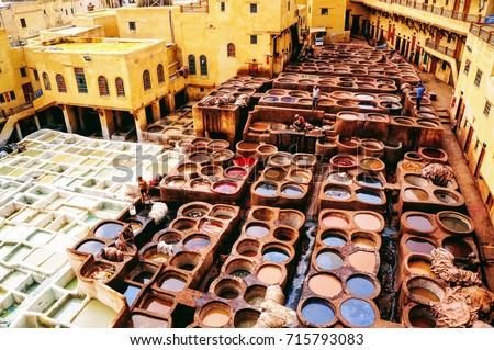 Tanneries, Medina of Fez, Morocco #715793083