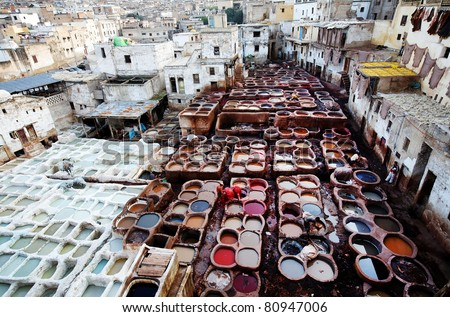 Tanneries of Fes, Morocco, Africa - stock photo