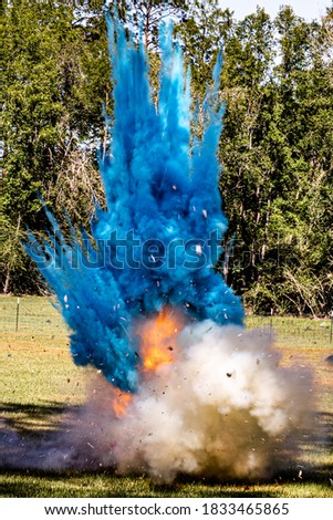 Tannerite explosion from gender reveal Photo stock ©
