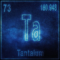 Tantalum chemical element, Sign with atomic number and atomic weight, Periodic Table Element