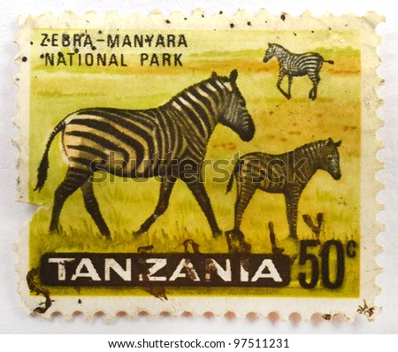 TANZANIA - CIRCA 1965: A stamp from Tanzania shows image of zebras in Manyara National Park, circa 1965