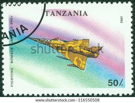 TANZANIA - CIRCA 1993: A stamp printed in Tanzania showing fighter plane, circa 1993