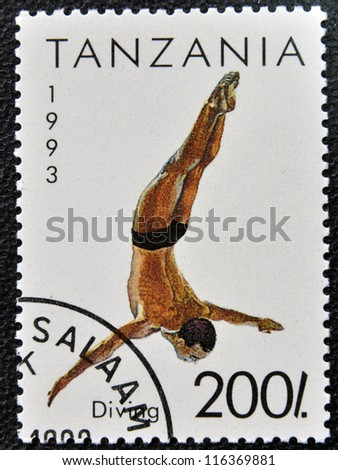 TANZANIA - CIRCA 1993: A stamp printed in Tanzania shows diving, circa 1993 - stock photo