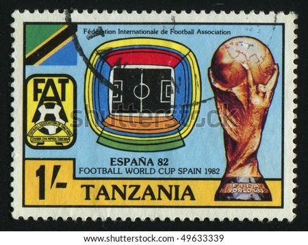 TANZANIA - CIRCA 1982: stamp printed by Tanzania, shows soccer players and ball, circa 1982.