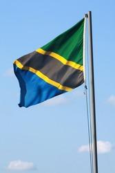 Tanzania flag swinging against blue sky (isolated file: 134710337)