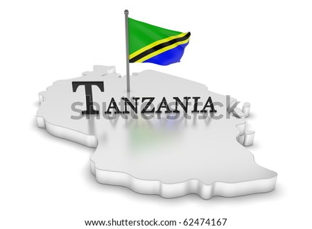 Tanzania Tribute/digitally rendered scene with flag and typography - stock photo