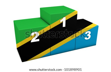 """Tanzanian top positions podium. 3d rendering for concept """" the best of Tanzania"""". Isolated on white"""
