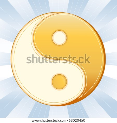 TAOISM SYMBOL.  Gold and white Yin Yang mandala of Tao faith, sky blue rays background.