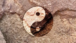 Taoist Tai Chi Yin and Yang diagram symbol isolated on weathered strong rock wall, ancient Chinese Taoism philosophical religion icon concept pattern texture background wallpaper