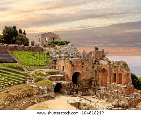 Taormina Greek Amphitheater Ruins at Sunset