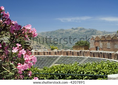 taormina sicily italy greek-roman theater
