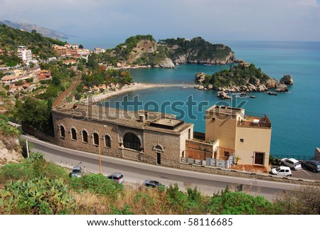 Taormina, small city in Sicily, know for Isola Bella