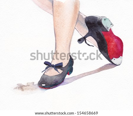 Tap dance shoes watercolor