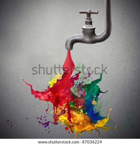 Tap dripping colored paint - stock photo