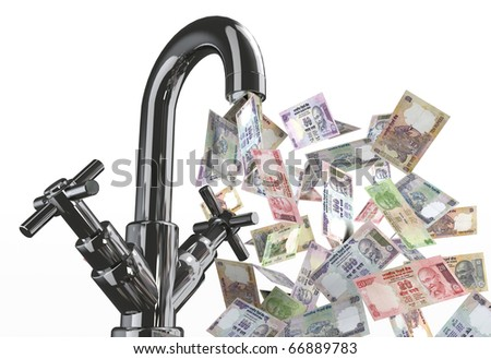 tap water with indian rupee banknotes 3d illustration