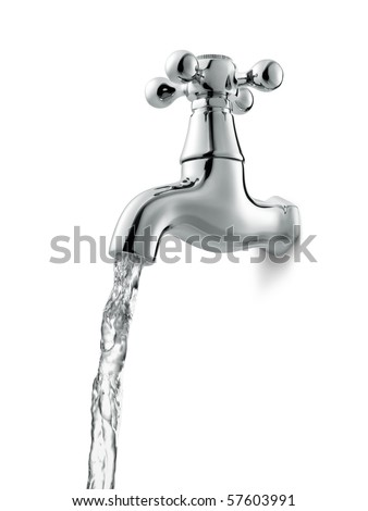 tap with flowing water against white background