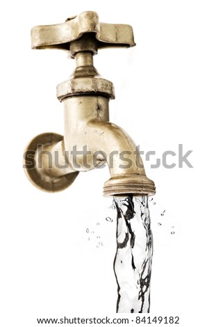 Tap, with flowing water, white background.