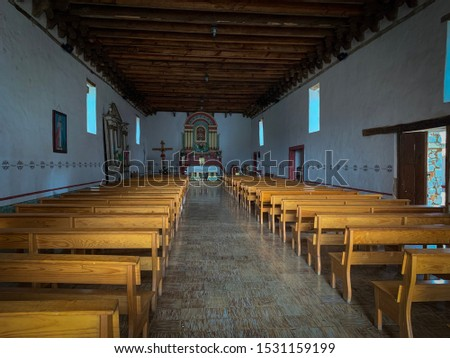 Tapalpa, Jalisco, Mexico - October 13 2019: Interior of old catholic parish church in Atacco, Jalisco, known as Parroquia de los Santos Reyes #1531159199