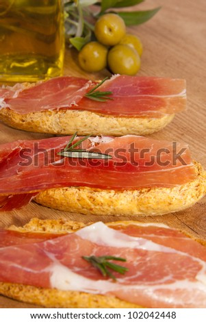 tapas of Serrano ham, Spanish typical dishes
