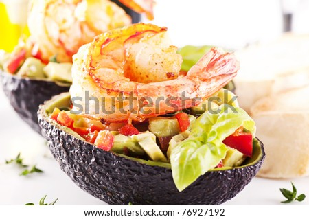 Tapas with prawns - stock photo