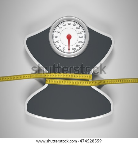 Tape measure around the balance decreasing its measures. Clipping path included.