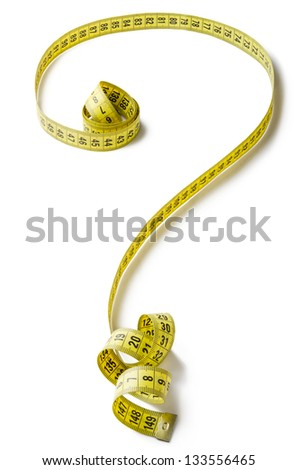 Tape measure forming the shape of question mark