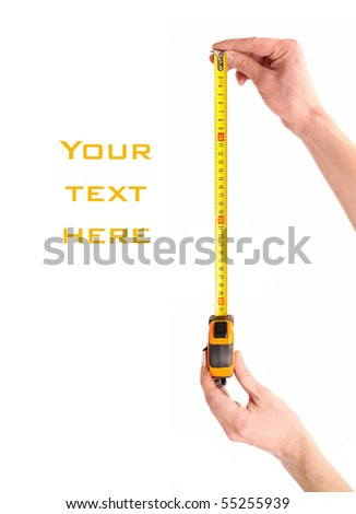 Tape measure in man hands