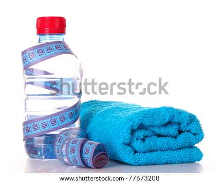 Tape measure, towels  and water bottle