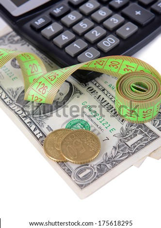 Tape measure with money and calculator close-up