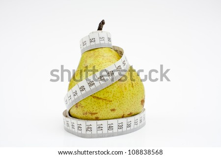 Tape measure wrapped around pear