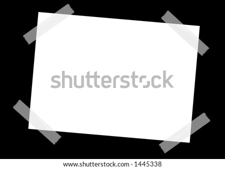 Taped white sheet on a black background. photoshop illustration.