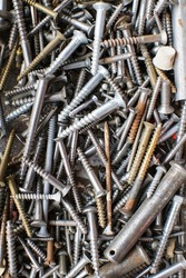 tapping screws made od steel, metal screw, iron screw, chrome screw, screws as a background, wood screw,
