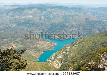 Tara mountain in western Serbia. Viewpoint Biljeska stena. View at river Drina and lake Perucac Stock photo ©