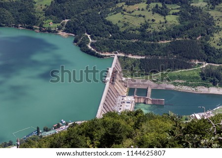 TARA National Park, Western Serbia - Aerial view of the Bajina Basta hydropower dam on the Lake Perucac and River Drina #1144625807