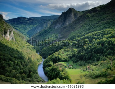 Tara river gorge in Montenegro mountains.